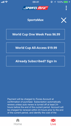 SportsMax Subscription Screen